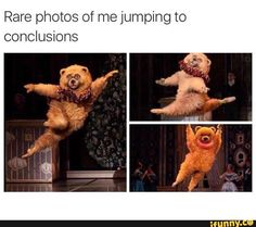 Rare Photos Of Me Jumping To Conclusions. ~ Memes curates only the best funny online content. The Ultimate cure to boredom with a daily fix of haha, hehe and jaja's. Memes Humor, Stupid Funny Memes, Funny Relatable Memes, Hilarious, Funniest Memes, Funny Humor, Funny Comebacks, Funny Sarcasm, Relatable Posts