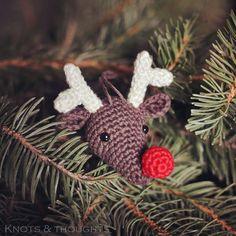 Knots and Thoughts Crochet Christmas Stocking Pattern, Crochet Christmas Ornaments, Holiday Crochet, Christmas Patterns, Beaded Ornaments, Christmas Decorations, Crochet Deer, Crochet Elephant, Free Crochet