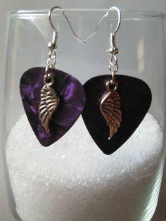 Guitar Pick Angel Wing Earrings, Guitar Pick Earrings, Angel Wing Earrings, Angel Wings, Drop Earrings, Dangle Earrings, Purple by AleshasBottleCaps on Etsy
