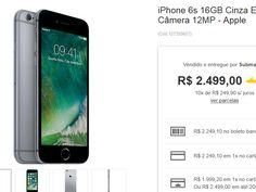 iPhone 6s 16GB Cinza Espacial iOS9 3G/4G Câmera 12MP << R$ 179928 >>