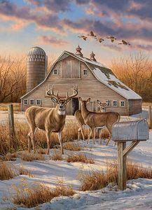 <i>Rural Route—Whitetail Deer; </i> Original Acrylic Painting Wildlife Paintings, Wildlife Art, Deer Farm, Winter Schnee, Deer Pictures, Hunting Art, Arte Country, Old Barns, Artwork