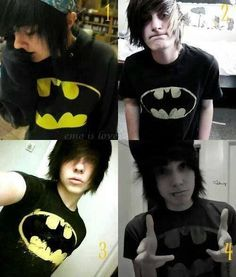 Emo boys! Emo boys wearing batman shirts makes them even hotter than they already are