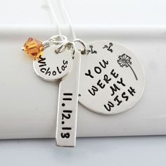 You Were My Wish Personalized Mothers Necklace | New Mom Jewelry by DesignMeJewelry on Etsy