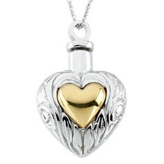 "Heart Ash Holder Necklace | Stuller #R41696KIT:60001:P | Available in Sterling Silver Only | This item comes with an 18"" chain, black pouch, funnel, gift box, and a card with inspiration and verse from scripture.