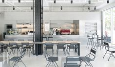 Ezer coffee / cafeteria, space, interior design on behance Coffee Shop Interior Design, Coffee Shop Design, Restaurant Interior Design, Cafe Design, Modern Interior Design, Modern Restaurant, Design Design, Sendai, Modern Cafe