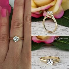 The 1 ct cathedral style criss cross solitaire ring in 14k solid yellow gold from TigerGems.com. ✨  Handmade with Love