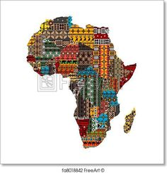Africa map with countries made of ethnic textures - Paper Print - Art Print from FreeArt.com