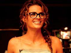 Stana Katic.  her glasses HOW CUTE