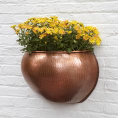 Hammered Demi Bowl Copper Wall Planter - Antique Copper - Planters and Windowboxes - Outdoor Metal Wall Planters, Copper Planters, Outdoor Planters, Hanging Planters, Outdoor Walls, Planter Pots, Outdoor Decor, Dental Office Design, Copper Wall