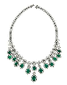 Platinum Emerald & Diamond Necklace