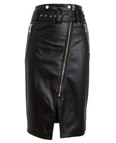 #JASONWU | Textured #Leather #Skirt Black high waisted belted zip leather skirt
