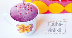 Kahvikuppineulatyyny. Ohje: http://www.kodinkuvalehti.fi/artikkeli/suuri_kasityo/askartelu_ja_muut_tekniikat/kahvikuppi_neulatyyny