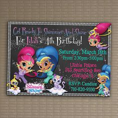 Shimmer And Shine Invitation, You Print Invitation, Shimmer And Shimer Birthday, Shimmer And Shine Birthday Party Invitation
