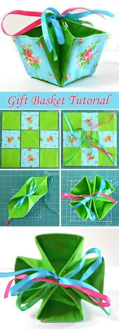 How to sew an gift basket bag of fabric. Tutorial.  http://www.free-tutorial.net/2017/01/gift-basket-tutorial.html