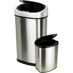 Nine Stars 13.2 Gallon Slim / 2.1 Gallon Trash Can Combo Set, Stainless Steel - Walmart.com