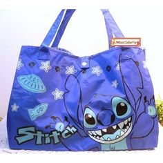 Amazon.com: Large Disney Stitch & Lilo Blue Beach Tote Shoulder Shopping Drawstring Bag Handbag Purse: Toys & Games