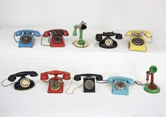 Mutli-coloured toy telephones #vintage #phones #toys