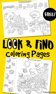 Look & Find Coloring Pages,Free printable coloring pages with a twist! I Spy, Look and Find, perfect for preschoolers to build fine motor and visual skills! 5 Senses Preschool, Free Preschool, Preschool Classroom, Preschool Learning, Preschool Activities, Teaching Kids, Kindergarten, Printable Activities For Kids, Preschool Printables