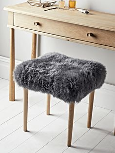 Sheepskin Dressing Table Stool - Slate Grey - Occasional Chairs & Sofas - Furniture by Type - Luxury Home Furniture Furniture, Comfy Living Room Furniture, Stool, Vintage Bedroom Furniture, Luxurious Bedrooms, Dressing Table With Stool, Modern Vintage Bedrooms, Scandinavian Furniture Design, Luxury Home Furniture