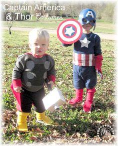 The Scrap Shoppe: DIY Captain America & Thor Costumes. Halloween next year. Captain America Halloween Costume, Superhero Halloween, Toddler Halloween Costumes, Boy Costumes, Super Hero Costumes, Baby Halloween, Captain America Toddler Costume, Halloween Ideas, Costume Ideas