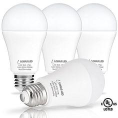 LOHAS LED Bulb 100-150W Equivalent(UL Listed), LED Light Bulbs Daylight 5000k, White A19 Bulb 17W, E26 Edison Base LED Lights, LED Home Lighting Lamps, Non-Dimmable(4 Pack) #LOHAS #Bulb #Equivalent(UL #Listed), #Light #Bulbs #Daylight #White #Edison #Base #Lights, #Home #Lighting #Lamps, #Dimmable( #Pack)