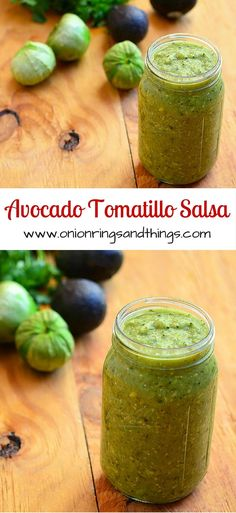 Avocado Tomatillo Salsa is about to become your top choice for condiment! Made with tomatillos, chili peppers, and avocado, it's amazing over tacos, breakfast eggs or any of your favorite foods for a delicious kick of flavor! Avocado Tomatillo Salsa, Salsa Guacamole, Tomatillo Sauce, Salsa Picante, Avacado Salsa Recipe, Salsa Dips, Tomatillo Recipes, Avocado Dip, Salsa Verde