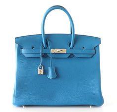 Hermes Birkin Bag 35 Bleu Izmir Palladium Hardware Clemence  #hermes