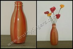 Fiery Sunset: Handmade satin-ribbon flowers, set in a recycled glass jar that was inspired by the fiery sunsets visible from my 7th floor balcony.
