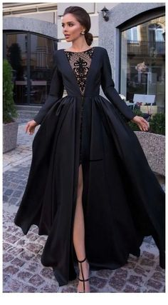 Lovely black dress with side slit, Shop plus-sized prom dresses for curvy figures and plus-size party dresses. Ball gowns for prom in plus sizes and short plus-sized prom dresses for Black Wedding Dresses, Beautiful Prom Dresses, Elegant Dresses, Pretty Dresses, Formal Dresses, Sexy Dresses, Summer Dresses, Casual Dresses, Long Dresses