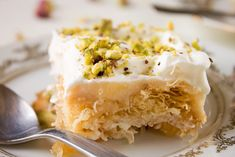 Ekmek kataifi is one of the most lavish amongst traditional Greek desserts. Lightly syruped dough, creamy and airy as fluffy clouds on a spring morning. Greek Desserts, Greek Recipes, No Bake Desserts, Dessert Recipes, Ekmek Kataifi Recipe, Greek Menu, Greek Cooking, World Recipes, Deserts