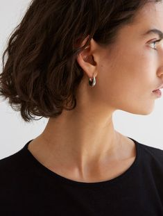 Sophie Buhai   Small Etruscan Silver Hoops   My Chameleon Silver Hoops, Chameleon, Pearl Earrings, Gold, Pearl Studs, Chameleons, Bead Earrings, Pearl Stud Earrings, Yellow