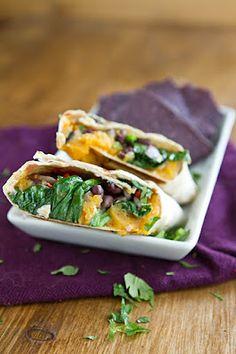 sweet potato, black bean, and spinach burrito
