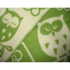 Klippan Owl Eco Lambswool Blanket Green