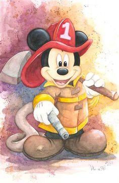 Disney Fine Art - Fireman Mickey. Biggs Ltd. Gallery. Heirloom quality bridal, art, baby gifts and home decor. 1-800-362-0677. $395.