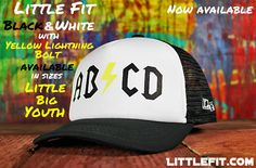 """Little Fit """"ABCD"""" Trucker Hat with Yellow Lightning Bolt"""