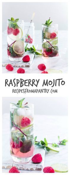 Pinterest: @ britaneiroberts Rasbberry Mojito - Refreshing & simple raspberry mojito recipe made with 5 ingredients - fresh raspberries, mint, lime, white rum and soda water. | recipesfromapantry.com.