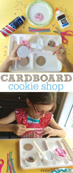 Cardboard Crafts -- Pretend Cookie Shop - Great for a rainy day!