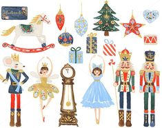 Nutcracker Clip Art for personal and commercial use - Christmas Watercolor Holiday Clipart Ballet Rocking Horse Sugar Plum Fairy Russian Nutcracker Christmas, Christmas Art, Christmas Ornaments, Nutcracker Image, Xmas, Christmas Pillow, Sugar Plum Fairy, Illustration Noel, Christmas Illustration