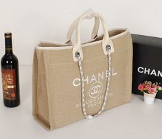 Chanel Bags 2014 Summer Canvas Shopping Bag 67012 Apricot - $139.96