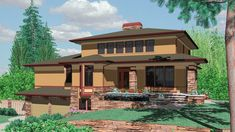 5 Bedroom Prairie Plan with Wine Cellar. House Plan 2429: The Kenison is a 4716 SqFt and Prairie style home floor plan featuring amenities like Butler's Pantry, Covered Patio, Den, and Formal Dining Room by Alan Mascord Design Associates Inc.