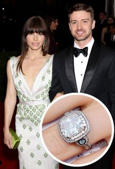 Throwback Thursday to Jessica Biel and Justin Timberlake's flawless engagement ring. Engagement Celebration, Wedding Engagement, Diamond Engagement Rings, Wedding Bands, Celebrity Wedding Rings, One Piece, Hope Diamond, Rose Gold Plates, Classic Gold