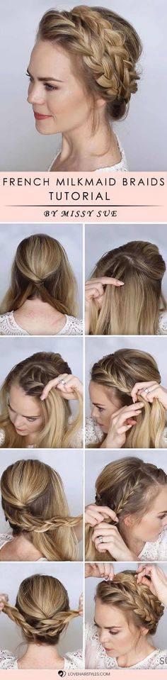 How to braid hair? We all ask this question from time to time, especially when we tried it all already and simple curling and straightening is no fun any longer. We have step by step tutorials that will teach you how to braid your tresses for a super adorable look. Check out our post! French Milkmaid Braids #braidedhair #howtobraidhair #braidstutorial