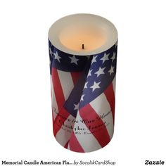 """Memorial Candle, American Flag, Forever in Our Hearts - This custom flameless memorial Candle is decorated with a background of American Flags. Text, is black, """"Forever in Our Hearts"""". Easy to personalize,  just change or delete example text. Flameless pillar style patriotic memorial candle is available in 3 sizes. All Rights Reserved © 2015 Alan & Marcia Socolik."""
