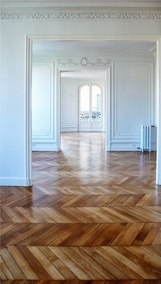 French Paneling & Wood Floors: beautiful herringbone flooring... I wonder how much time it would take to put down.