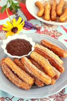 Try this churros recipe for yummy, crunchy dough-fried treat with chocolate dip sauce. So good and filling and so easy to make. | www.foxyfolksy.com