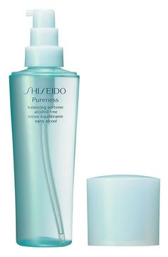 Free shipping and returns on Shiseido 'Pureness' Balancing Softener at Nordstrom.com. A refreshing alcohol-free lotion that brings new radiance, softness and balance to blemish-prone skin. Lightly rehydrates and leaves skin smooth and comfortable. Absorbs quickly to deliver an immediate sensation of dewy freshness. Balances skin to help reduce the tendency toward imperfections.<br><br>How to use: Use daily morning and evening after cleansing.