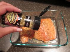 Easiest Salmon Recipe Ever! Used lime juice and olive oil bc no lemon juice. Mixed those and seasoning and brushed on fish. Sprinkled little extra seasoning. Wrapped in tin foil and closed.