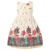 Richie House Big Girls White Pleated Forest Printed Dress 7-9 - SophiasStyle.com