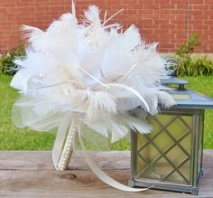 White and Ivory Ostrich Feather Bridal by KristinDangerDesigns, $65.00