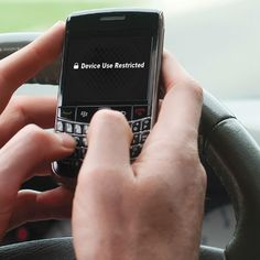 The Driver's Texting Disabler - Hammacher Schlemmer - prevents drivers from texting, accessing email, and web browsing on a smartphone while the car is moving.
